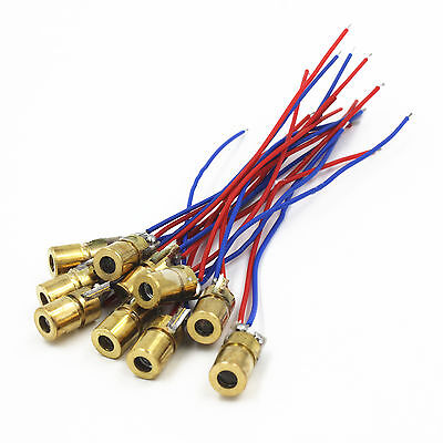 10pcs Mini 650nm 6mm 5V 5mW Laser Dot Diode Module Head Red Dot