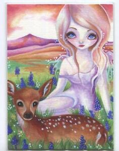 ACEO S/N L/E WOODLAND FOREST SPRITE GIRL DOE FAWN DEER GRAPE HYACINTH RARE PRINT