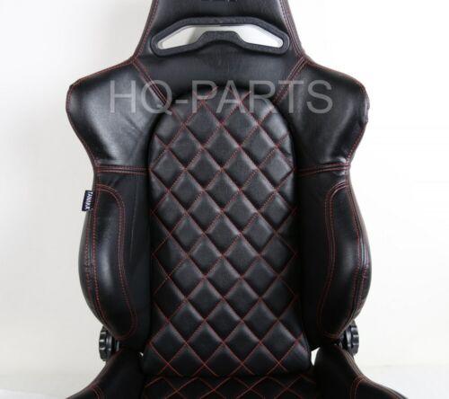 2 X TANAKA BLACK PVC LEATHER RACING SEATS RECLINABLE RED DIAMOND STITCH FITS VW