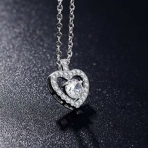 QUALITY-HEART-CHARM-NECKLACE-MADE-WITH-SWAROVSKI-CRYSTALS-WHITE-GOLD-PLATED-ZX1