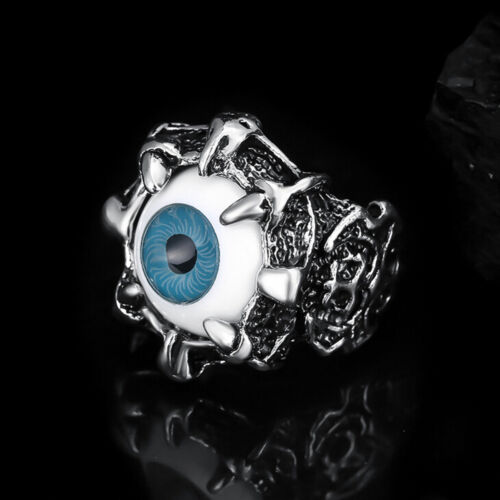 1Pcs Evil Eye Biker Men/'s Ring Stainless Steel Gothic Skull Dragon Claw Blue  ce