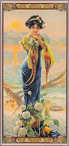 1894 Paon série soirée Hydrangea Vintage Français Art Nouveau Art Poster Print