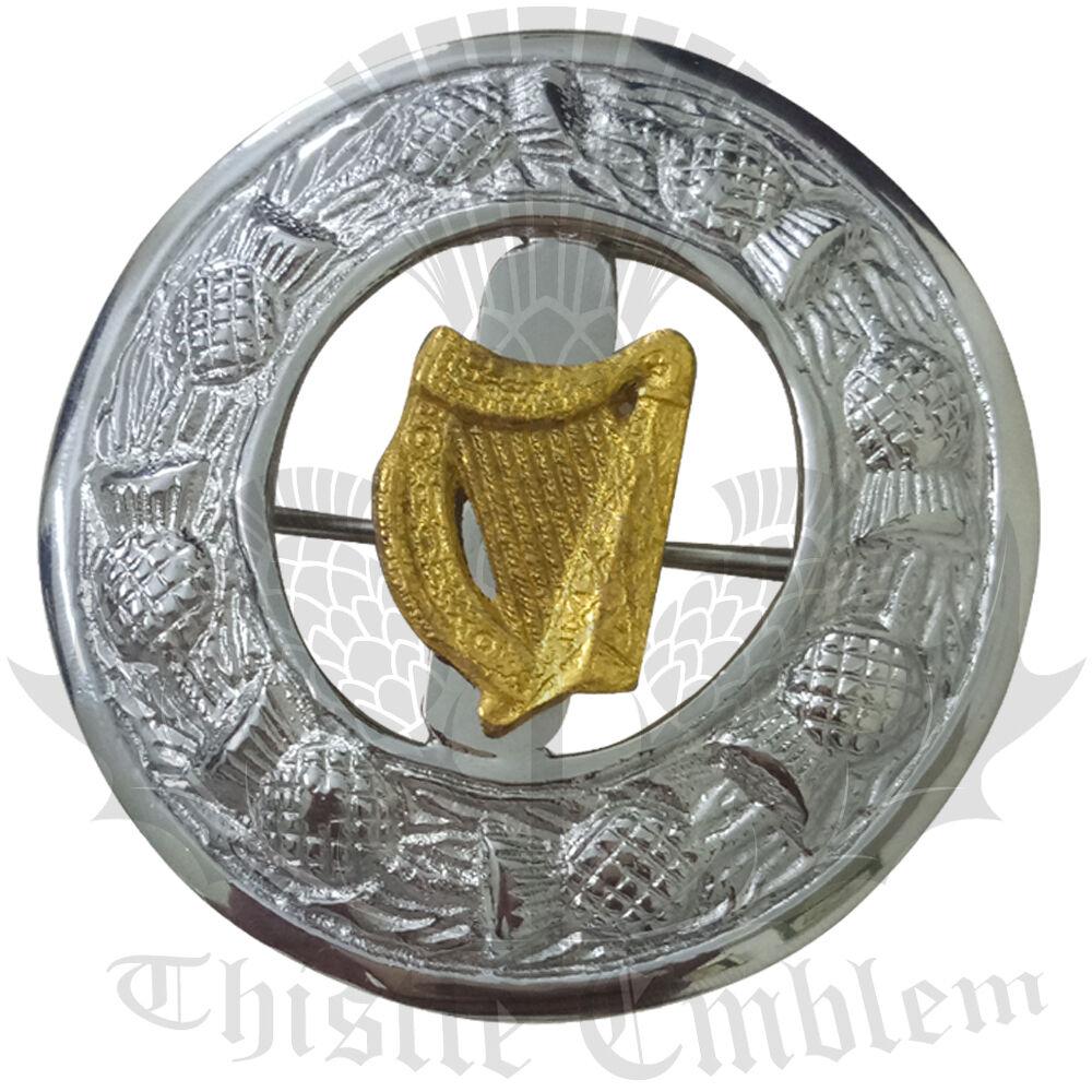 Men's Scottish Kilt Fly Plaid Brooch Irish Harp Badge Gold/Fly Plaid Brooches