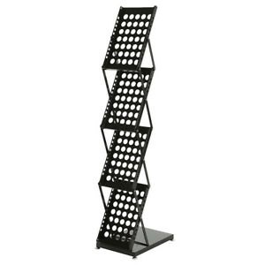 4-Tier Modern Folding Portable Metal Magazine Rack Black Display Organizer Stand
