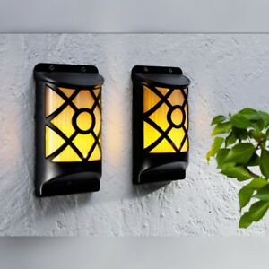 2er LED Solar Wandleuchte Solarleuchte Edelstahl Gartenlampe Wandlampe Außenlamp