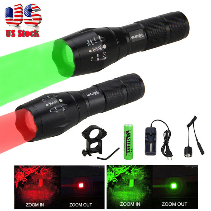 Tactical Green Red LED Flashlight Coyote Hog Fox Predator Varmint Hunting Light
