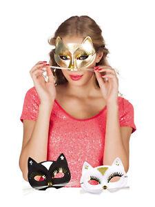 Ehrlichkeit Augenmaske Katze Schwarz Weiß Gold Tiermaske Edel