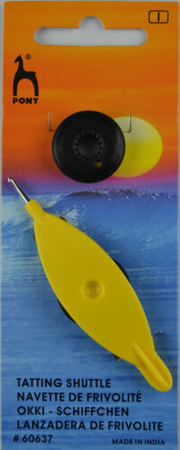 Occhi Schiffchen mit haken und Spule Ersatzspule gelb Pony
