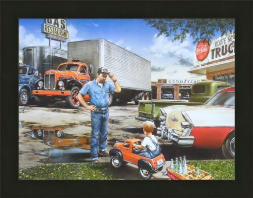 ON THE ROAD AGAIN by Dan Hatala 22x28 FRAMED PRINT Pedal Car Child Truck PICTURE