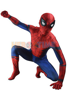 Image is loading Kids-Adult-Marvel-Civil-War-Spiderman-Costume-Halloween-  sc 1 st  eBay & Kids/Adult Marvel Civil War Spiderman Costume Halloween Superhero ...