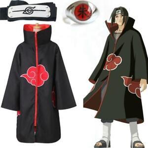 Japanese Anime Naruto costume Akatsuki itachi Uchiha cosplay cloak set