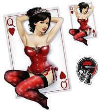 Aufkleber Set Herz Königin Pin Up Girl Queen of Hearts Sticker Sexy Spielkarte