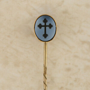 Gold Stick Pin - Vintage Gold Sardonyx Black Cross Stick Pin (boxed)