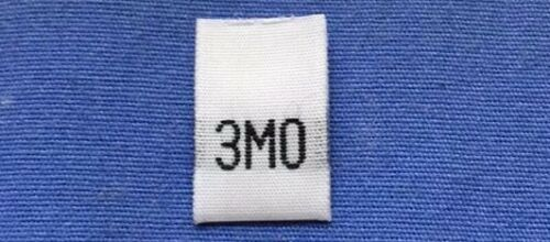 250Pcs White Taffeta Woven Clothing Infant Size Tab Tag Label Toddler 3 Month