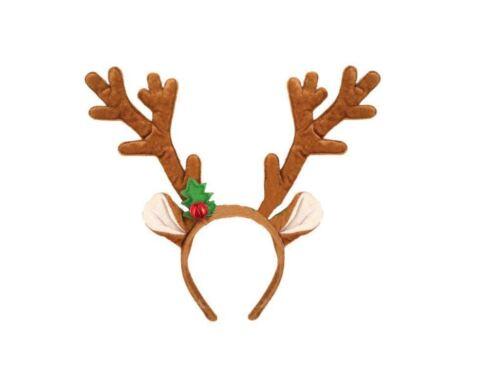 Brown Festif Noël Rudolph renne cerf//W cloches Fancy Dress Bandeau