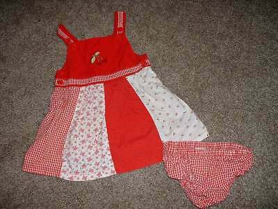 Gymboree Baby Girls Good Old Days Red Cherry Dress Set Size 12-18 months mos
