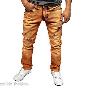 ZAHIDA-Jeans-Uomo-Slim-Fit-Pantaloni-skinny-stretto-Clubwear-ARANCIONE-GIALLO-VINTAGE-NUOVO