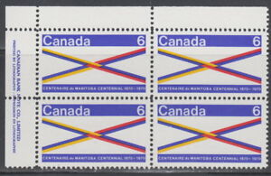 CANADA-505-6-Manitoba-Centennial-UL-Plate-Block-MNH
