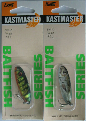 1//4 Ounce Two Popular Colors! 2 Pks Acme Tackle KASTMASTER BAITFISH SERIES