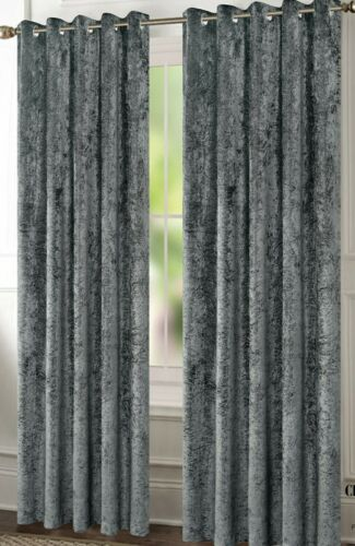 Crushed Velvet Curtains Champagne Pair of Eyelet Ring Top Fully Lined thermal