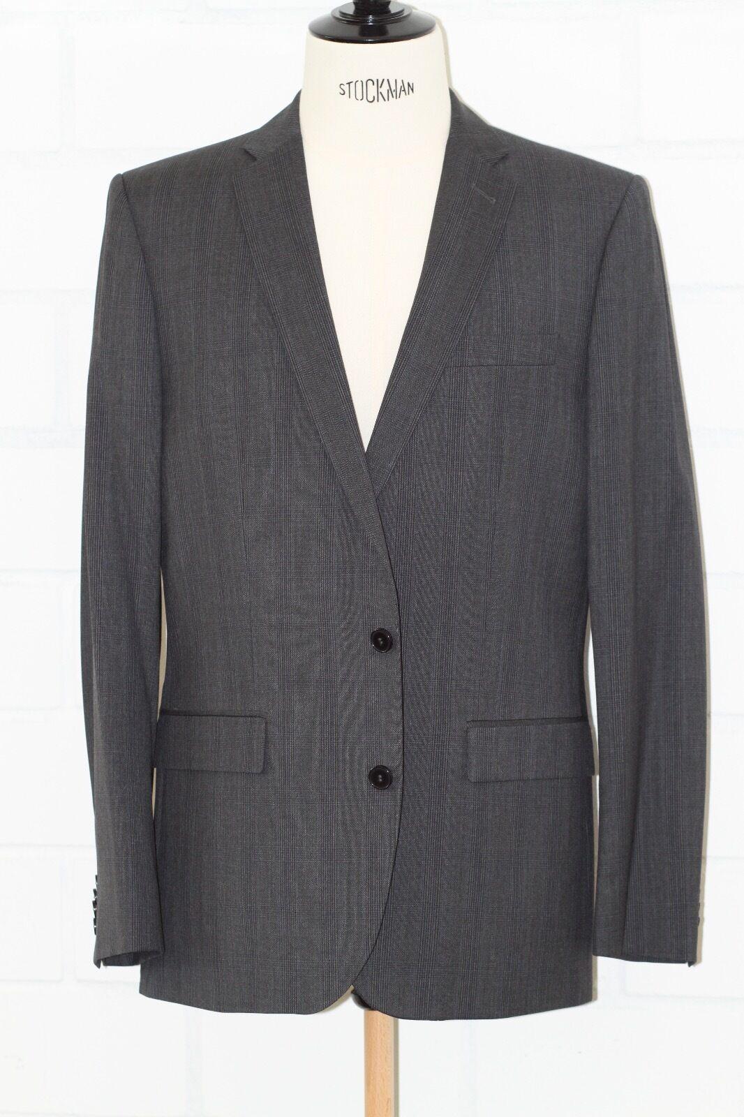 Herrenanzug Luxus Designer J.LINDEBERG Gr. 52 Neu Grau Schurwolle handmade
