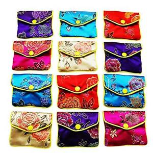 9651b1f4471c 12pcs Zipper Jewelry Gift Pouch Chinese Style Silk Coin Purse ...