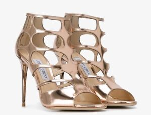 0ec8e648268 NWT Jimmy Choo Rose Gold Ren 85 Caged Sandals Size 41 (with box ...