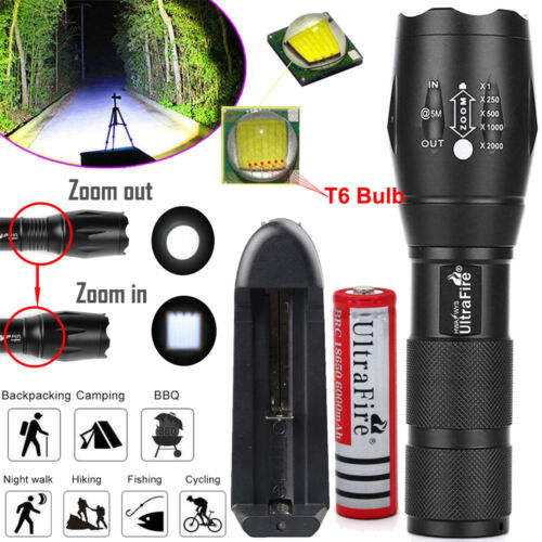 Charger Ultrafire Zoomable Tactical 50000LM T6 LED Flashlight 18650 Torch Lamp