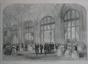Original 1856 Engraving GEORGE WASHINGTON'S BIRTHDAY BALL Hôtel du Louvre Paris