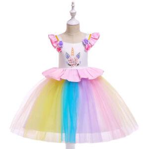 US-Flower-Girl-Princess-Unicorn-Tutu-Dress-Baby-Wedding-Party-Birthday-Dress-O60