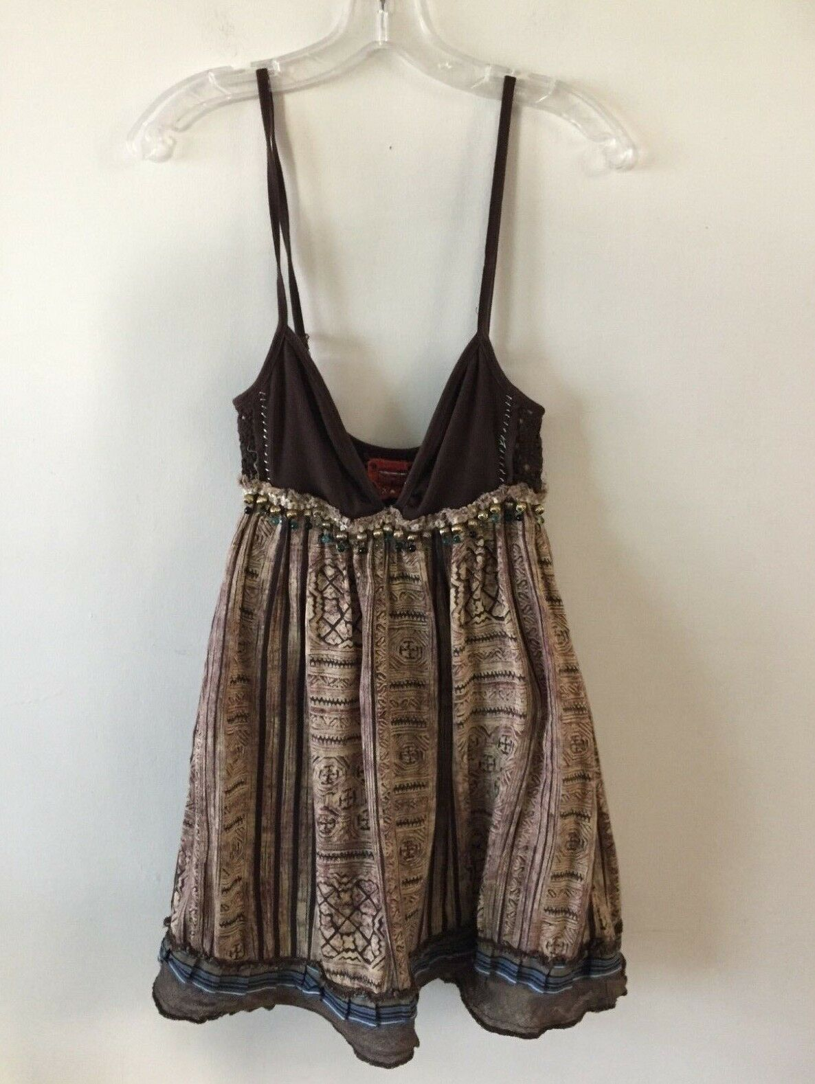 Free People Fit & Flare Tunic Top Mini Dress Burlap Beads Lined Women's Size 4