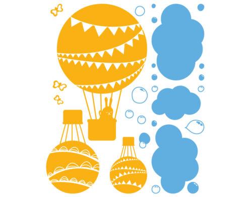 Tapisserie ascension en ballon 2-en couleur en montgolfière Chambre enfant autocollant dis008