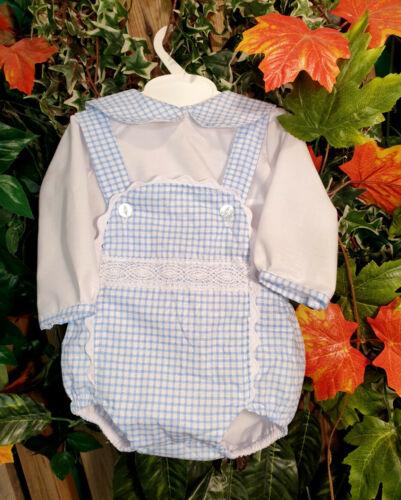 Dream 0-3 anni Baby Boys SHIRT SKY BLUE GINGHAM Foderato Romper Set o Reborn
