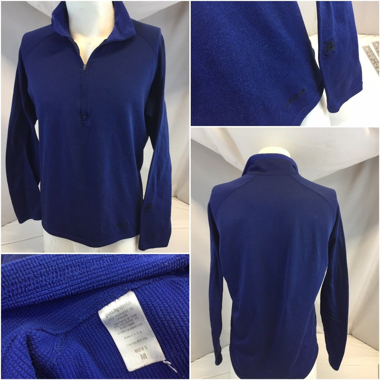 Patagonia Base Layer M Men bluee 1 4 Zip Poly Lycra EUC  YGI A9-402
