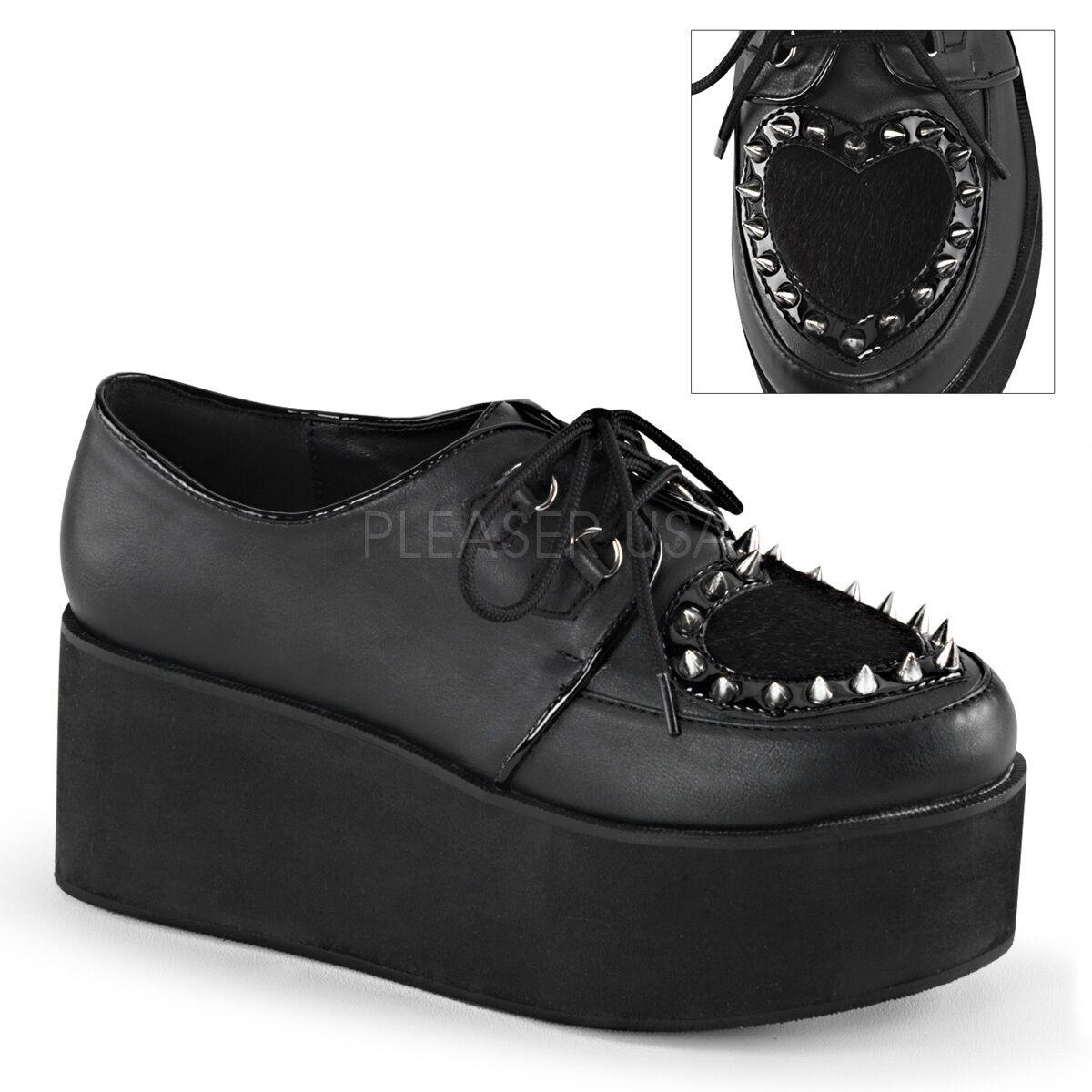 Demonia 2.75  Platform Vegan Furry Heart Spike Studded shoes Goth Women's 6-11