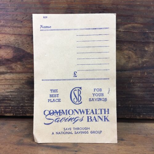 UNUSED VINTAGE COMMONWEALTH SAVINGS BANK PREDECIMAL COIN DEPOSIT ENVELOPE