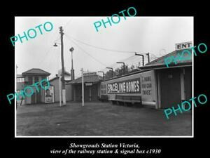 OLD-POSTCARD-SIZE-PHOTO-OF-MELBOURNE-SHOWGROUNDS-RAILWAY-SIGNAL-BOX-c1930