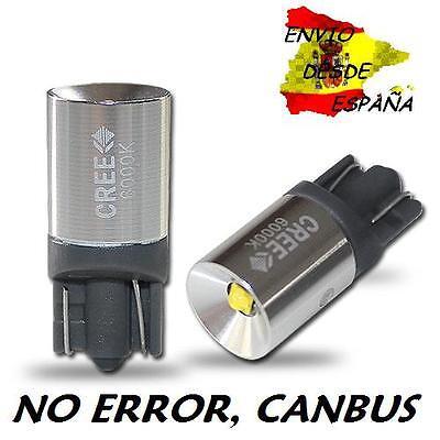 2X BOMBILLAS LED CREE 3W T10 6000K W5W CANBUS BLANCO PURO ULTIMA GENERACION