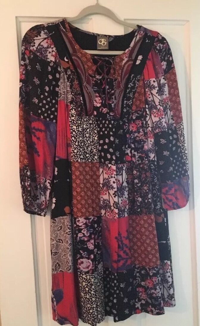 Anthropologie one september Patchwork Peasant Dress New  S