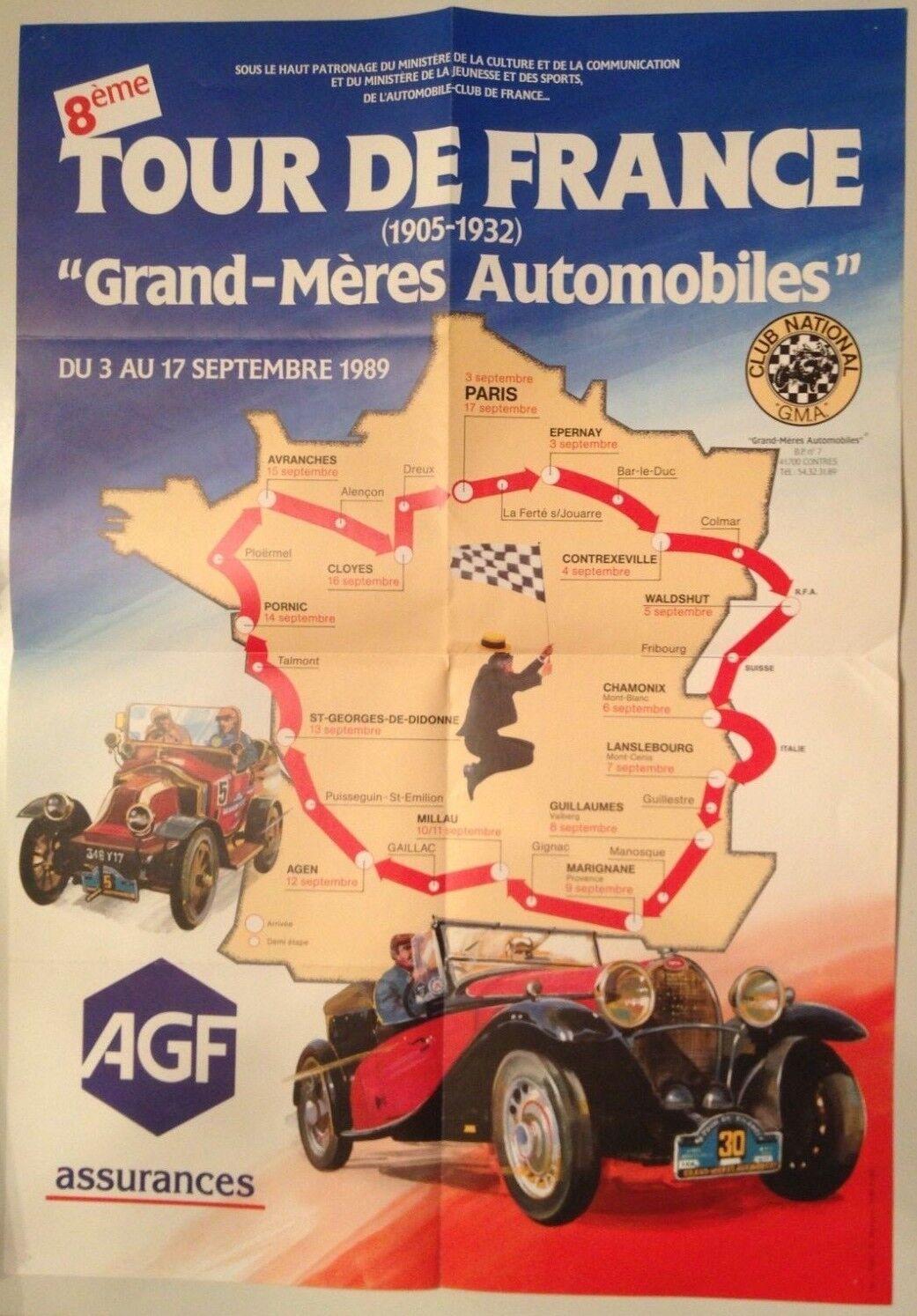 RARE AFFICHE 8e TOUR DE FRANCE GRAND MERES AUTOMOBILES AUTOMOBILES AUTOMOBILES SEPTEMBRE 1989 48c680