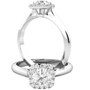 0.61 Ct Round Cut Moissanite Engagement Superb Rings 18K Real White Gold Size 8