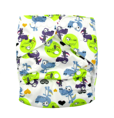 Toddler//Junior XL Reusable Modern Cloth Nappy /& XL Insert Cool Blue Crocodiles