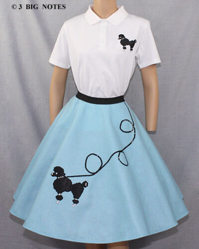 "7-Pcs Adult AQUA BLUE Poodle Skirt Outfit SIZE Large WAIST 35/""-42/"" L25/"""