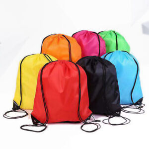 88f6aeff086c Details about Drawstring Large Bag Sport Gym Hiking Waterproof Backpack  Duffle Cinch Sack