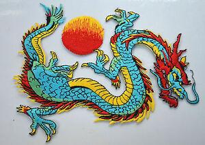1 Paar Drache Form Patch Chinesische Stil Bestickt Applikation Vintage Aufnäher