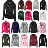 Fashion Womens Zip Up Hooded Jacket Ladies Hoodies Jumper Sweatshirt Coat Tops