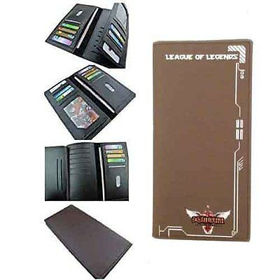 League of Legends LOL Long Bi-fold Brown Wallet with Front League of Legends Log