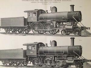 1898-CHINA-IMPERIAL-RAILWAY-AMERICAN-LOCOMOTIVE-TRAIN-ORIGINAL-POSTER