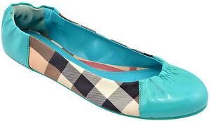 350-Burberry-Bleu-Turquoise-Nova-Soft-Ballerine-Cuir-Femme-Chaussures-Flats