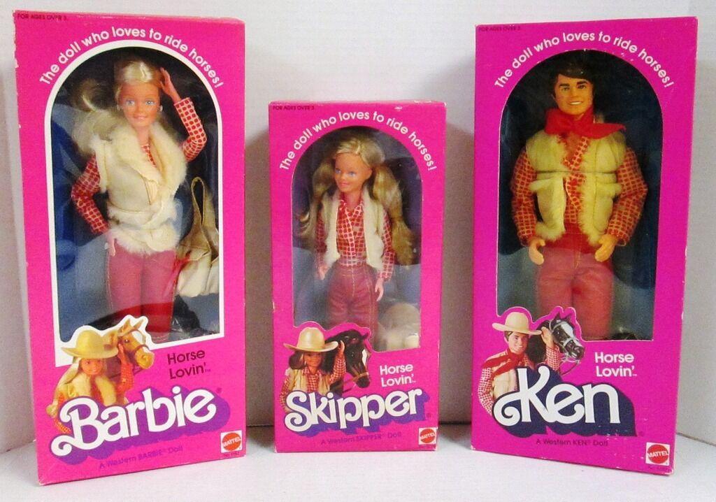 Horse Lovin 'Muñecas Barbie, Ken y Skipper (nuevo)